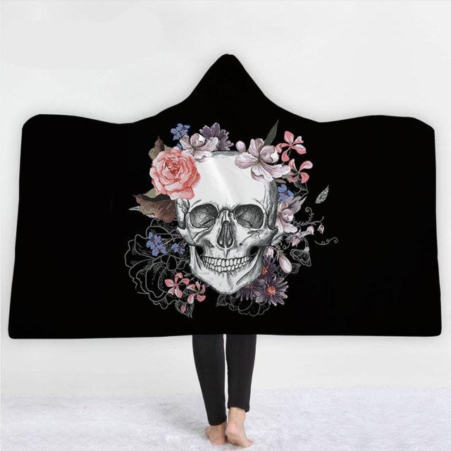 3D FLOWER SKULL HOODED BLANKET (11 VARIAN)