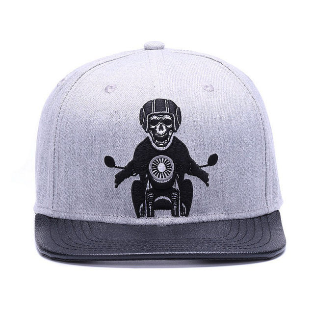 SKULL RIDER EMBROIDERY BASEBALL CAPS
