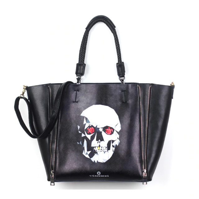 DUAL ZIPPER GENUINE COW LEATHER TOTTE BAGS