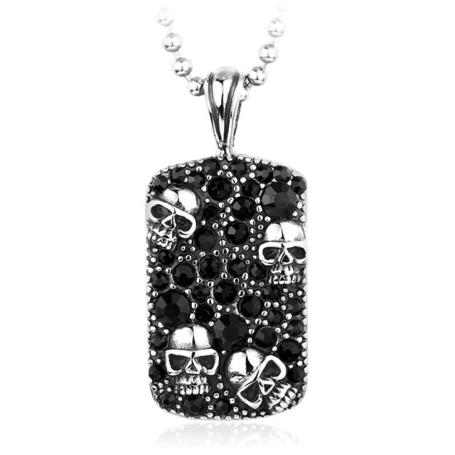 STAINLESS STEEL SKULL DOGTAG NECKLACE