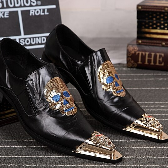 VINTAGE SKULL BROGUES PIGSKIN GENUINE LEATHER OXFORD SHOES