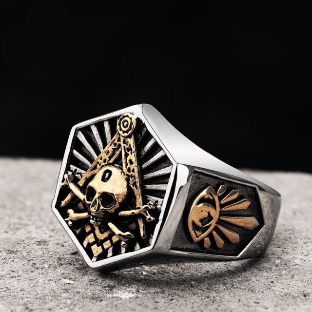 STAINLESS STEEL MASONIC HEXAGON SKULL RINGS