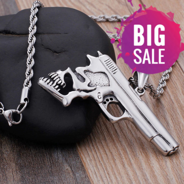 STAINLESS STEEL SKULL PISTOL NECKLACE