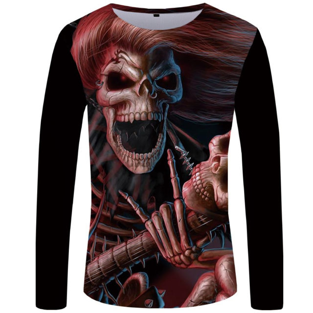 3D SKULL THEMED LONG SLEEVE T-SHIRT