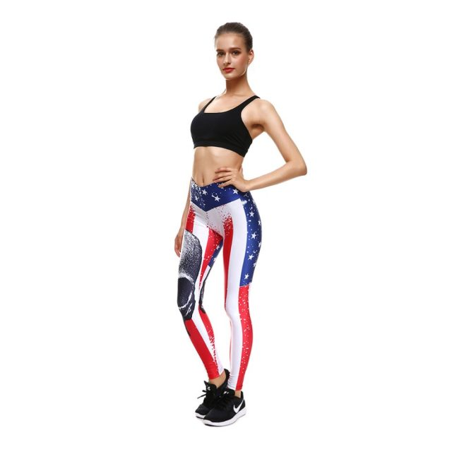 Qickitout Pants American Flag Skull British Style 2017 Women's Digital Print LEGGINGS Big Hip High Waist Pants Trousers Fitness
