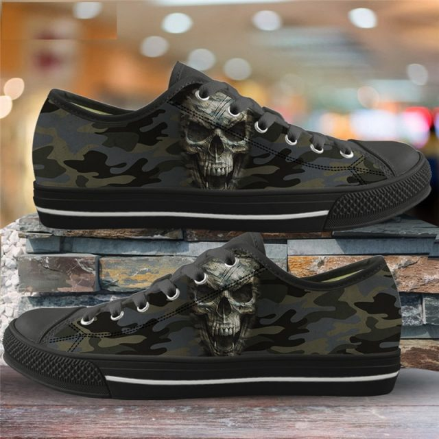 ELVISWORDS Punk Style Women Casual Shoes Camouflage Skull 3D Print Vulcanized Shoes for Cool Office Ladies Canvas Low Top Flats