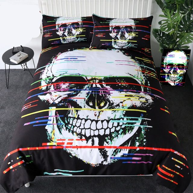 BeddingOutlet Skull Bedding Set Colorful Lines Duvet Cover for Adult Gothic Home Textiles Black and White Bedclothes 3-Piece