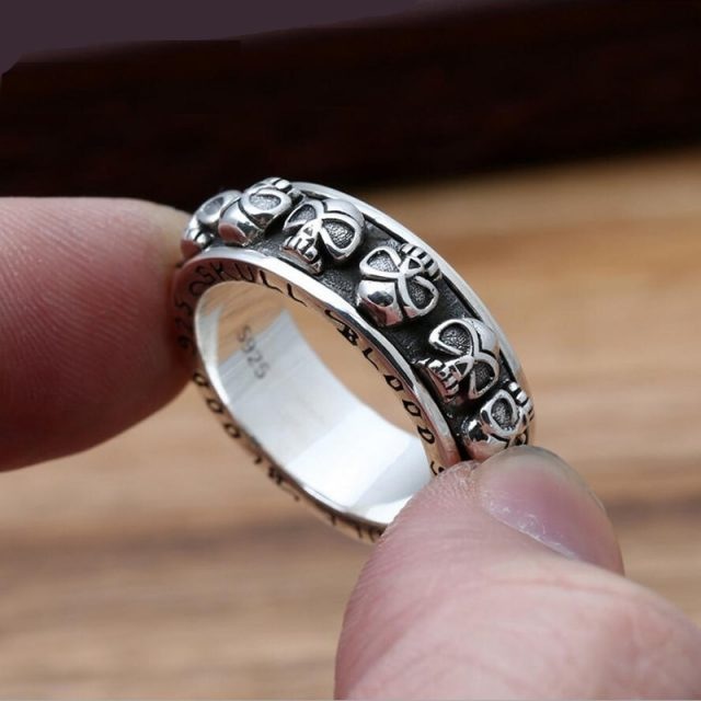 Punk Fashion Skull 925 Sterling Silver Ring Men Jewelry Wedding Ring Vintage jewelry Thai Silver hand spinner GR8