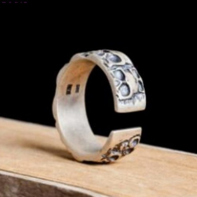 BOCAI  Thai silver rings for men and women s925 Sterling Silver rings retro Skull male and female ring  adjustable opening rings