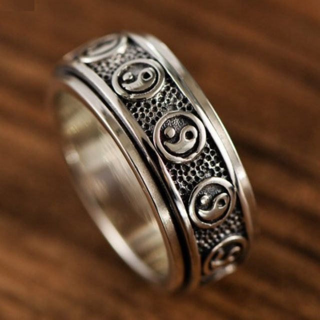 BOCAI S925 Sterling Silver rings for men and women retro Thai silver Taoist eight trigrams can rotate ring male domineering ring