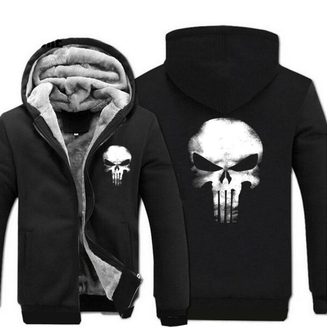 Skull Hoodies Men Swag Hooded Sweatshirt 2019 New Brand Winter Thick Warm Fleece Harajuku Hip Hop Streetwear Cool Sportswear