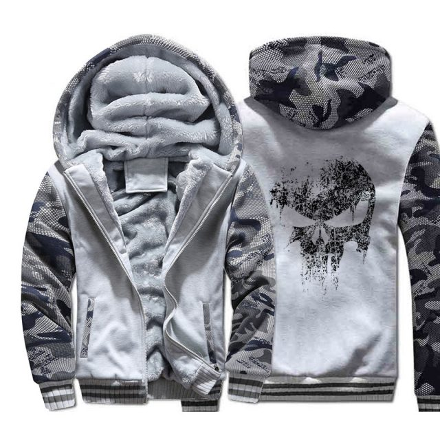 Skull Jacket Super Hero Hoodie Men Hip-Hop Sweatshirt Coat Winter Thick Fleece Warm Camouflage Swag Sportswear Mens