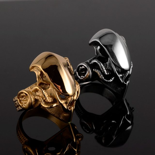 Men's Fashion Punk Gothic Jewelry Warrior Helmet Stainless Steel Band Ring
