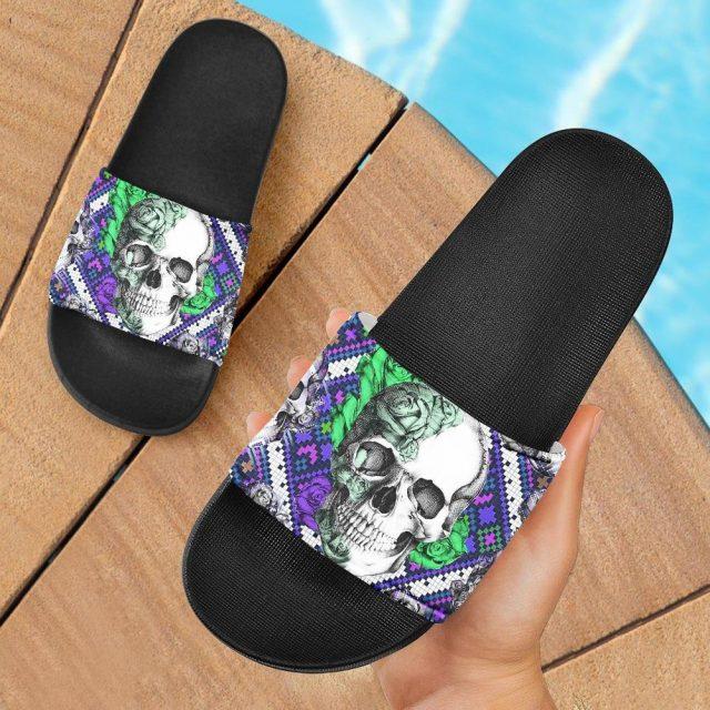 Summer Indoor Slippers for Women Gothic Sugar Skull Flowers Print Bathroom Non-slip Soft Sandals Slides Zapatos Mujer