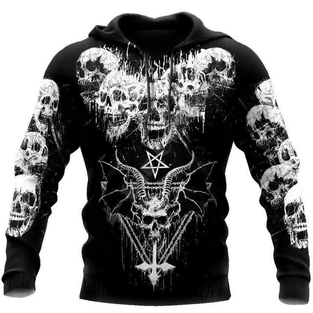 Satan Devil Ghost Gothic Skull Funny Casual Pullover NewFashion Streetwear 3DPrint Men/Women Jacket Zip Hoodies 14